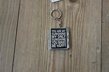 """KEY RING WITH""""YOU ARE MY SUNSHINE ETC WORDS ON OPENING BOX WITH MIRRORS INSIDE"""
