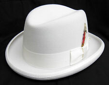 New with Tags White Godfather Dress Hat w/ Feather Fedora Prom XL(7 5/8 - 7 3/4)