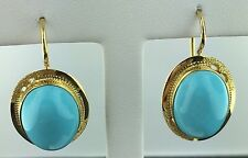 Lady's 18k yellow gold oval shaped Persian turquoise leverback earrings, Italy
