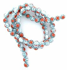 6mm Round Blue Orange White  Lampwork Glass Flower Bead 15 Inch Strand 6MMGB1