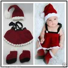 Girl Baby Newborn Christmas Knit Costume Crochet Outfit Photography Photo Prop