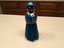 Black Americana Butler's Brush Girl Clothes Crumb Blue & White Wood Handle