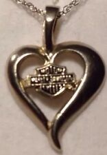 "10k White GOLD 18"" CHAIN & HEART PENDANT HARLEY DAVIDSON BEAUTIFUL!!!"