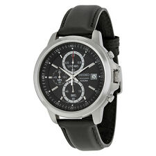 Seiko Chronograph Black Dial Black Leather Mens Watch SKS445P2