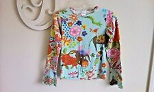 Girl's sz 140/ 10 Oilily Top Shirt Flowers Animals Blue Red Pink CUTE EUC.
