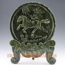 Chinese 100% Natural Green jade Handwork Carved Horse & Bird Screen