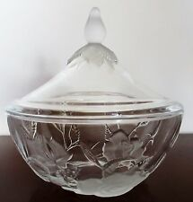 "VINTAGE FROSTED & CLEAR GLASS CANDY BOWL &  LID ROSES SHAPED EMBOSSED 6""D  6""H"