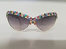 Novelty/Halloween Large Cat-Eye Sunglasses with Multi Colored Stone Accents