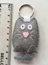 Cute 'WHISKERS THE CAT' !! Keyring or Bag Tag In Grey