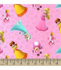 Nintendo Super Mario Brothers Princess Packed Cotton Fabric ~ by the HALF YARD