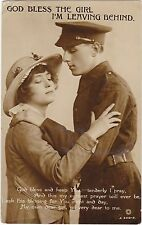 WWI MILITARY GOD BLESS THE GIRL I LEAVE BEHIND REAL PHOTO POSTCARD