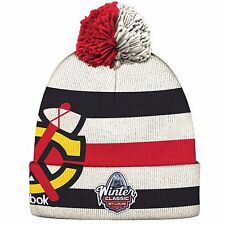 Chicago Blackhawks Reebok 2017 Winter Classic Players Cuffed Knit Hat - White