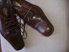 VINTAGE 80's SHELLY'S BROWN LEATHER ANKLE STRAP SHOES size 39 or UK 6