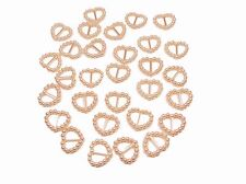 100 PEACH PEARLISED HEART SHAPED RIBBON SLIDER BUCKLES FOR WEDDING INVITES,CRAFT