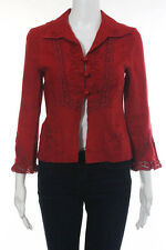 Nanette Lepore Bright Red Linen Embroidered Button Down Jacket Size 6