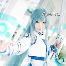 Anime Cosplay Hair Full Sword Art Online Asuna Girls Light Blue Long Wavy Wig