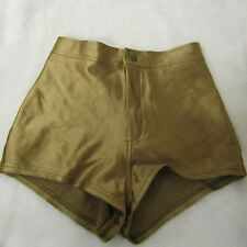 American Apparel Gold Disco Shorts Sz XS UK 6 Hot Pants Kylie Minogue High Waist
