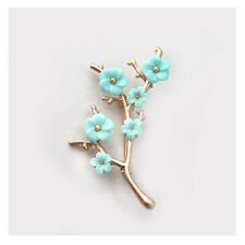 Exquisite Glass Pearls Blue Flowers Gold Branch Spring Fashion Brooch