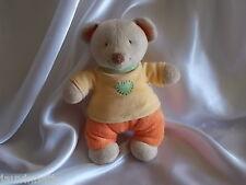 Doudou ours beige, jaune, orange et vert, Pommette
