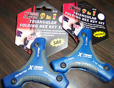 NEW Allen Hex KEY Wrench set SAE & Metric both 9in1 x2 triangular handle folding
