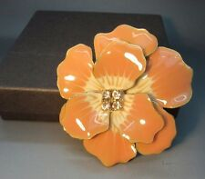 JOAN RIVERS peach ENAMEL PANSY CRYSTAL CENTER PIN BROOCH NEW SIGNED