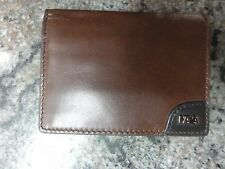 NAVA DESIGN PERSONAL DARK BROWN LEATHER FOLDING WALLET SMALL