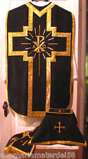 Chasuble Set  Black Fiddleback Chi Rho Requiem Mass+ Veil, Burse, Maniple, Stole