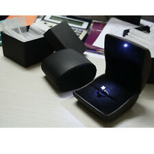 Black Diamond Jewelry Ring Box With LED Light Propose Engagement Wedding Gift