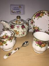 Royal Albert Old Country Roses LOT~7 Pcs~Teapot,Cup/Saucer/SPOON/ Sugar Bowl~NEW