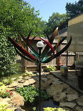 Kinetic wind Sculpture Modern Art spinner metal COLOR CHANGING SOLAR Pinwheel L