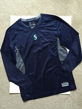 Seattle Mariners Nike Pro Combat Fitted MLB Authentic Shirt Hypercool Sz L