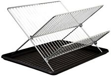 2-Tiers Chrome Stainless Steel Folding Dish Drying Rack Drainer Dryer Tray Plat