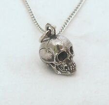Human Skull Necklace in Fine English Pewter, Handmade, Gift Boxed (wa)
