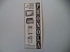 advertising Pubblicità 1965 PHONOLA RADIO/LAVATRICE/TELEVISORE