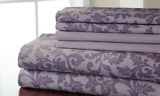 NEW Kendall 600TC Cotton Rich Printed Sheet Set - Lilac - Size: Queen