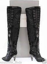 NEW TOM FORD BLACK OVER THE KNEE BOOTS WITH OPEN TOE 37 - 7
