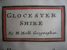 A Framed Map of Glos. Gloucestershire Glocestershire by Herman Moll 1724 - 1753