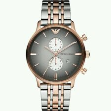 MENS EMPORIO ARMANI AR1721 GIANNI CHRONOGRAPH  WATCH TWO TONE ROSE GOLD & STEEL