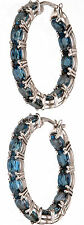 Ostro 11.50 Ct tw London Blue Topaz Inside-Out Sterling Silver Hoop Earrings
