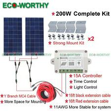 200W Off Grid System: 2*100W Solar Panel Kit with Controller for Home Boat Power