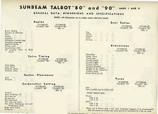 Sunbeam Talbot 80 and 90 MK I & II Data sheets - 7 Pages