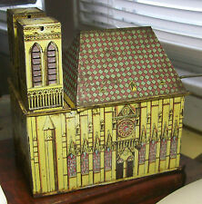 Antique Tin Litho Church w/Wind-up Plays Music-Made in Germany by D.R. & M.