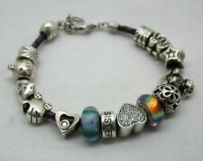Lovely Chamilia Leather Bracelet With 15 Silver Charms