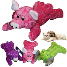 DOG PLUSH SQUEAKY PET TOY PURPLE PINK GREEN SQUEAK PLAY SOFT PUPPY PUP CAT