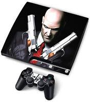 PS3 SKIN HITMAN paßend PlayStation3 SLIM für KONSOLE + 2X CONTROLLER+CD EINSCHUB