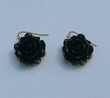 "1"" BLACK ROSE FLOWER GOLD PLATED DROP EARRINGS......NECKLACE LISTED TOO"