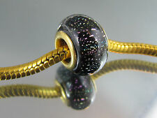 GOLD PLATED CORE DICHROIC MURANO GLASS BEAD EURO STYLE CHARM BRACELETS  (GP 008)
