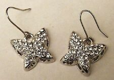boucles d'oreilles percées couleur argent papillon cristal diamant * 4591