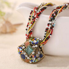 Fashion Vintage Stone Crystal Pendant Necklace Bohemian Women Sweater Necklace