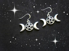 NEW WICCAN PAGAN PENTACLE PENTAGRAM SILVER TRIPLE MOON GODDESS DANGLE EARRINGS